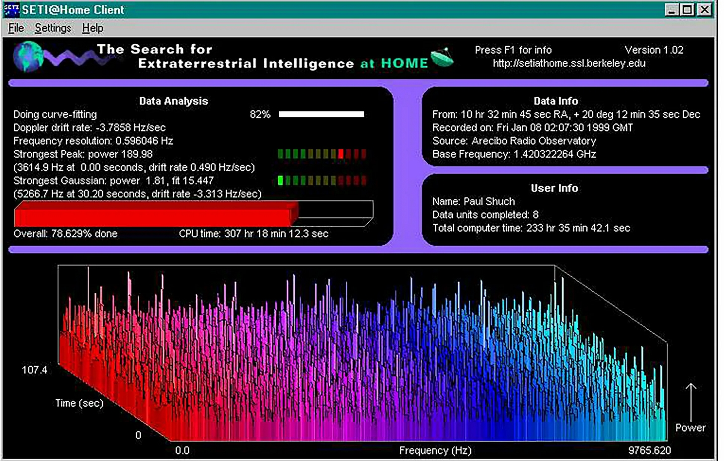 software seti@home screenshot